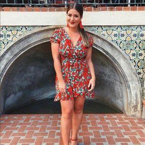 Zara floral wrap mini dress